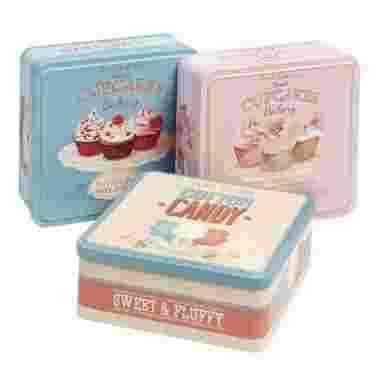 Bewaarblik vierkant cupcake