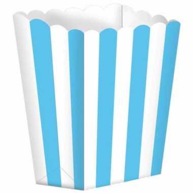 Bioscoop popcorn bakjes lichtblauw stuks