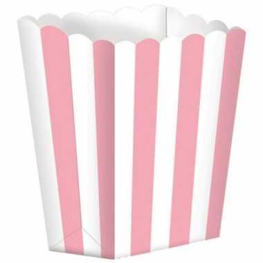 Bioscoop popcorn bakjes lichtroze stuks