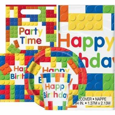 Bouwstenen thema kinderfeestje versiering pakket personen 10162028