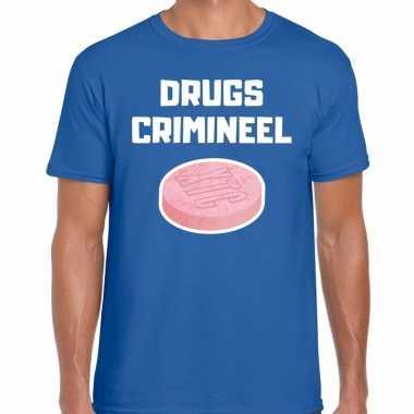 Drugs crimineel verkleed t shirt blauw heren