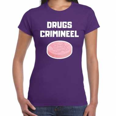 Drugs crimineel verkleed t shirt paars dames