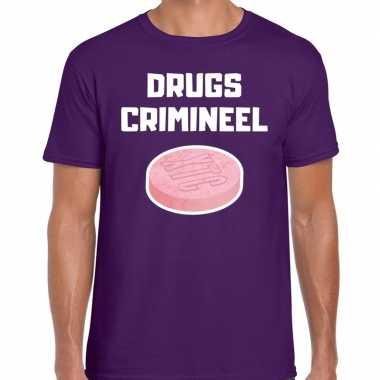 Drugs crimineel verkleed t shirt paars heren