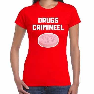 Drugs crimineel verkleed t shirt rood dames