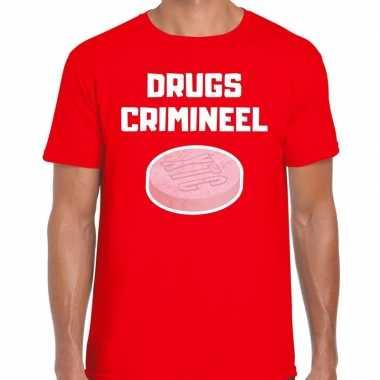 Drugs crimineel verkleed t shirt rood heren