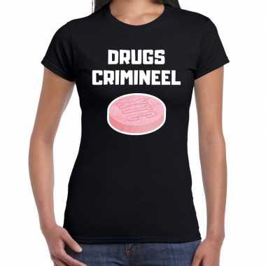 Drugs crimineel verkleed t shirt zwart dames