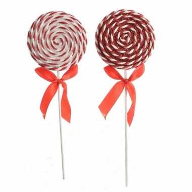 Hang kerstdecoratie foam lolly glitter rood/wit , type