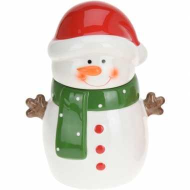 Kerst decoratie koekpot/snoeppot sneeuwpop