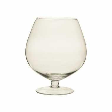 Woondecoratie glazen ronde vaas