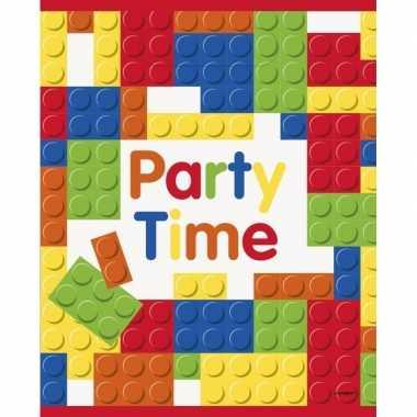 X bouwstenen blokken thema feestzakjes uitdeelzakjes