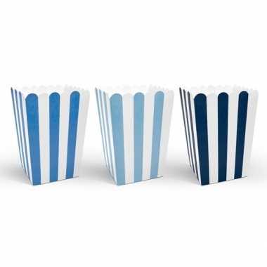X gestreepte popcorn bakjes blauw