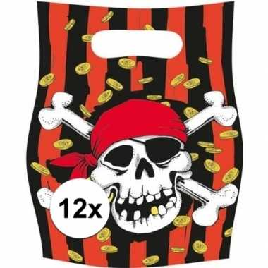 X piraten themafeest feestzakjes uitdeelzakjes jolly roger 10162979