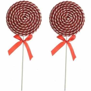 X rood/witte lolly kerstversiering hangdecoratie