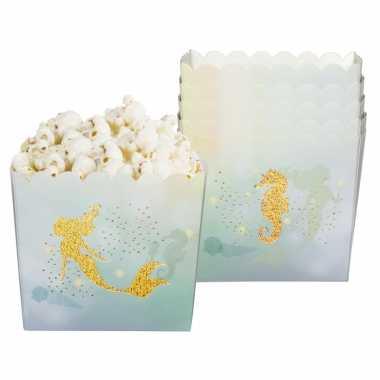 X zeemeermin/oceaan themafeest popcorn/snoep bakjes goud ml