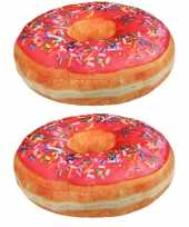 Set stuks sprinkels donut kussens roze