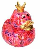 Spaarpot eend kroontje fuchsia roze gekleurde snoepjes print