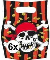 X piraten themafeest feestzakjes uitdeelzakjes jolly roger