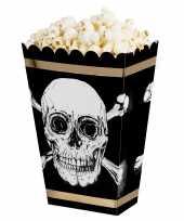 X popcorn bakjes snoepbakjes piraat doodshoofd thema